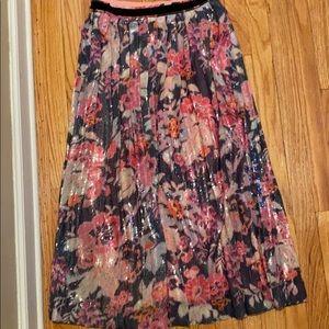 Anthro Sequin Midi Skirt sz 8